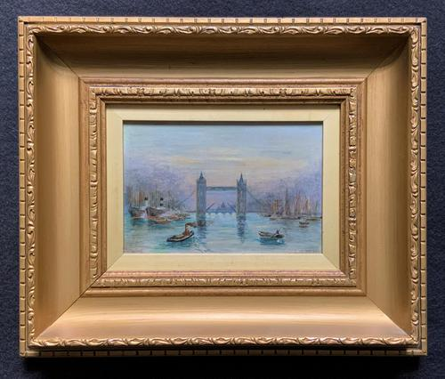Superb Original 1921 View of Tower Bridge London Seascape Oil Painting (1 of 12)