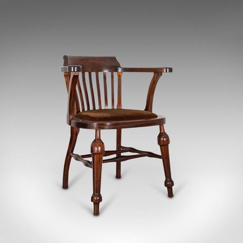 Antique Captain's Chair, English, Mahogany, Armchair, Seat, Edwardian c.1910 (1 of 12)