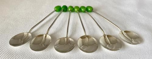 Set of Six Sterling Silver Coffee Bean Spoons (1 of 4)