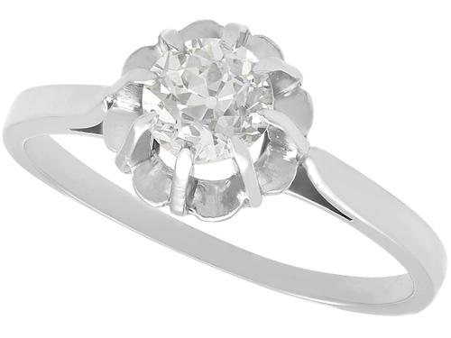 0.68ct Diamond & 18ct White Gold Solitaire Ring - Antique French c.1920 (1 of 9)