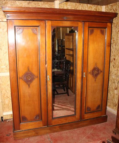 1920s Large 3 Door Mirrored Mahogany Maple and Co Wardrobe (1 of 8)