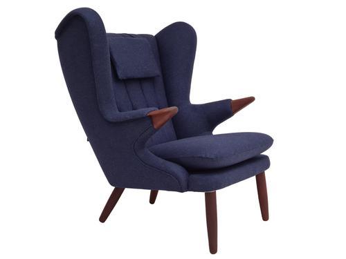 "Danish design ""Teddy bear"" chair, 70s, wool, teak wood, reupholstered (1 of 16)"
