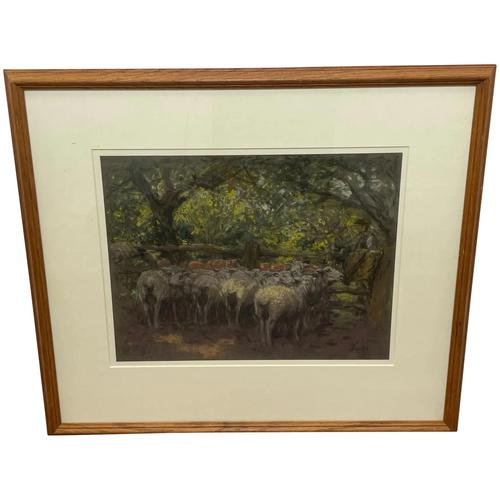 "Edwardian Pastel Painting ""The Sheepfold"" By John Robert Keitley Duff RI RA Rse (1 of 34)"