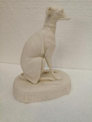 Rare 19th Century Parian Figure of a Seated Greyhound (1 of 6)