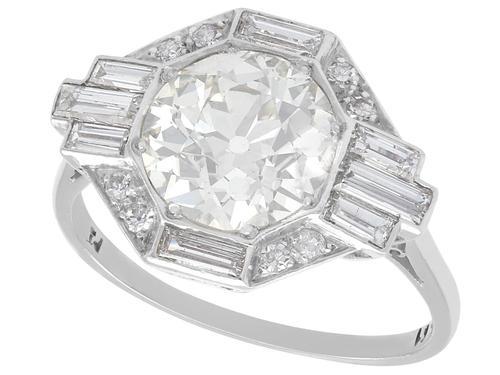 3.75ct Diamond & Platinum Dress Ring - Art Deco c. 1930 (1 of 9)