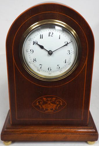 Impressive Solid Mahogany Arched Top Cased Timepiece Clock with Satinwood Inlaid Decoration (1 of 10)