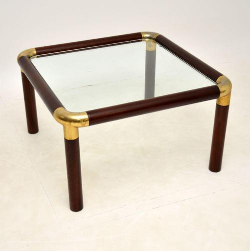 1970's Vintage Mahogany & Brass Coffee Table (1 of 7)