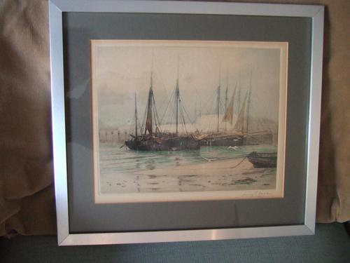 Henry George Walker (1876-1932): coloured etching of moored fishing boats at Brixham Harbour, Devon (1 of 3)