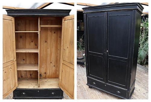 Gorgeous! Large Old Victorian Pine & Black Painted Hall Cupboard / Wardrobe - We Deliver! (1 of 10)