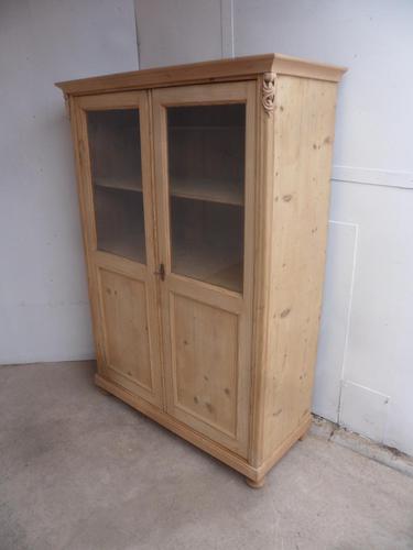 Victorian Antique Pine 2 Door Display Cabinet to wax / paint (1 of 9)