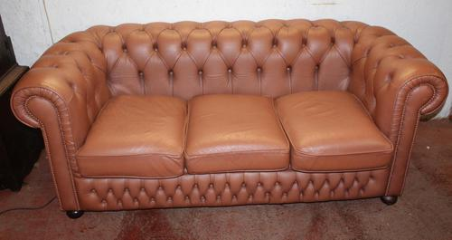 1960's Leather Chesterfield 3 Seater Sofa Upholstered Light Tan (1 of 3)