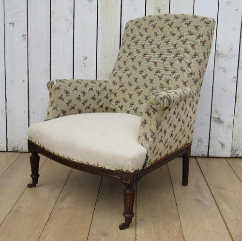 Shapely Antique Napoleon III Armchair for Re-upholstery (1 of 8)