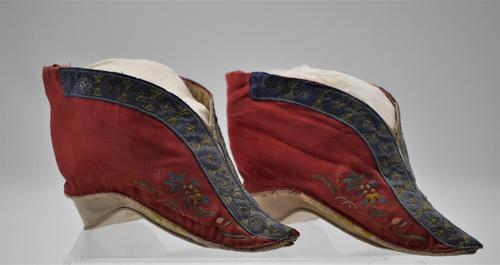 Pair 19th Century Chinese Bound-feet Silk Shoes (1 of 6)
