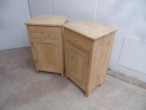 Great Pair of Antique Pine Victorian Bedside Cabinets to wax / paint (1 of 7)