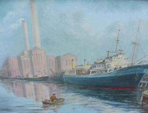 Oil on board seascape Shoreham Power Station Listed Artist Max Parsons ARCA (1 of 10)