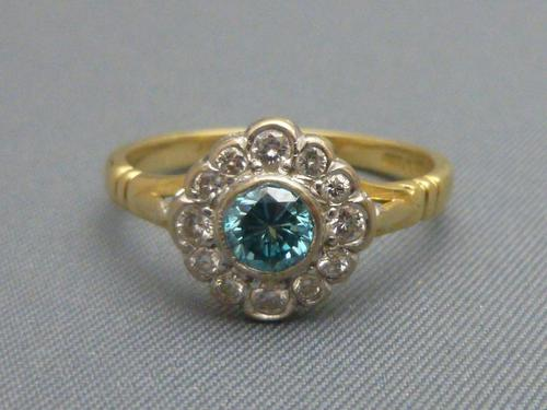 Diamond & Blue Zircon Cluster Ring (1 of 6)