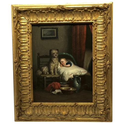 """19th Century English School Oil Painting """"The Loyal Sentinel"""" Dog Guarding Child (1 of 17)"""