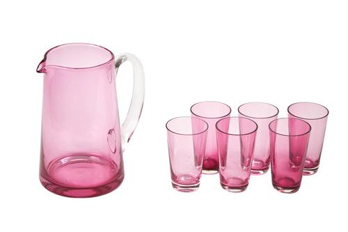 Antique Cranberry Jug with 6 Glasses (1 of 4)