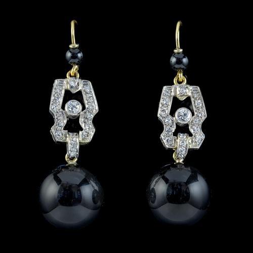 Art Deco Onyx Diamond Drop Earrings Platinum 18ct Gold Circa 1920 (1 of 4)
