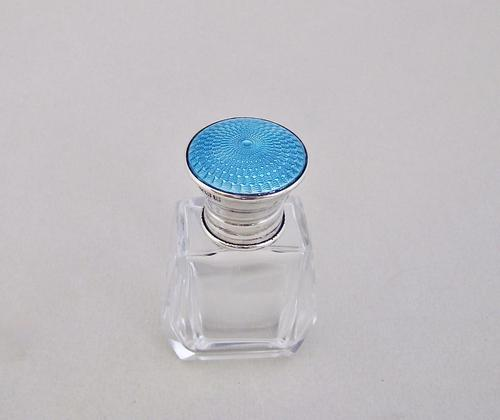 Art Deco silver & guilloche enamel scent bottle by T. H. Hazlewood & Co, Birmingham 1926 (1 of 5)