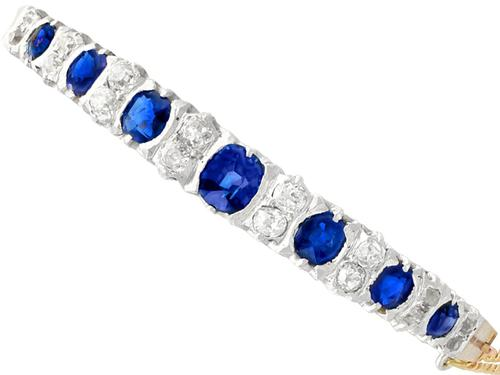 3.50 ct Sapphire and 1.30 ct Diamond, 18 ct Yellow Gold Bangle - Antique French Circa 1890 (1 of 9)
