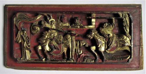 Antique Chinese giltwood carved panel, 19th century, jousting/duel (1 of 8)