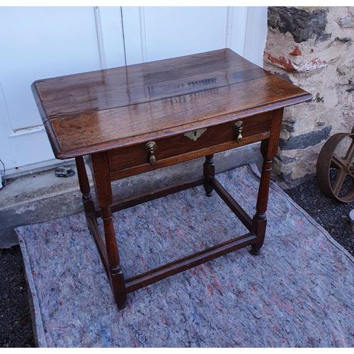 Queen Anne Walnut & Oak Side Table (1 of 6)