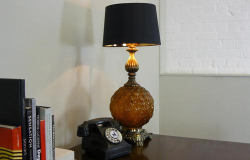 Pair of Large Vintage Glass & Figured Ormolu Table Lamps (1 of 10)