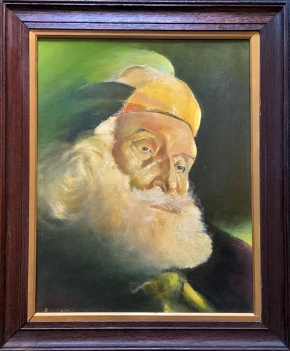 Early 1900s Oil Portrait Painting of Elderly Bearded Indian Gent (1 of 12)