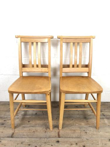 Pair of Vintage Beech Chapel Chairs (1 of 12)