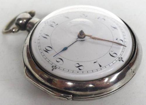 Antique Silver Pair of Case Pocket Watch Fusee Verge Escapement Key Wind Enamel Dial Thomas Cooker Oakham (1 of 12)