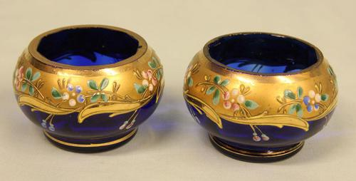 Antique Pair of Bristol Blue Decorated Salts (1 of 2)