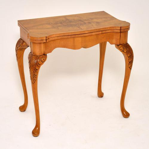 Antique Queen Anne Style Burr Walnut Card Table (1 of 11)