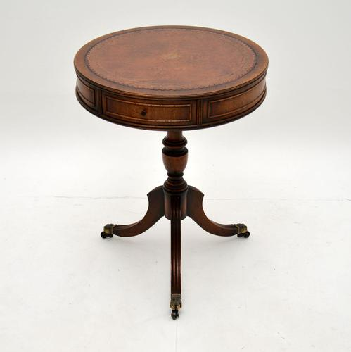 Antique  Regency Style  Mahogany Leather Top Drum Table (1 of 6)