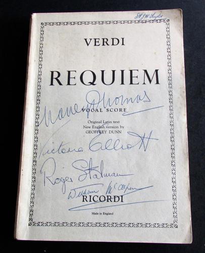 1958 Verdi Requiem  Signed by Victoria  Elliott, Roger Stalman,  Willliam  McAlpine (1 of 4)