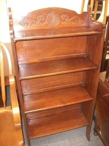 Folding Open Bookcase with Carved Upstand (1 of 4)