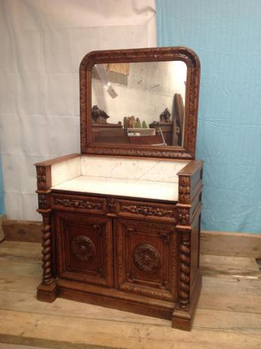 19th Century French Solid Oak Gothic Oak Revival Marble Top Washstand (1 of 9)