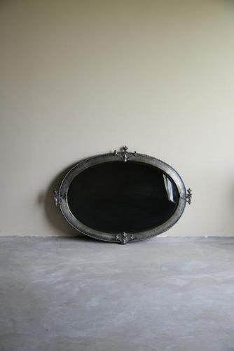 Large Oval Early 20th Century Metal Mirror (1 of 5)