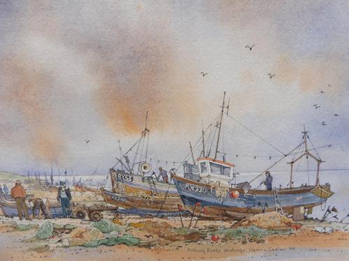 Watercolour & Ink Hastings Boats Listed Artist Valerie Sadler (1 of 10)