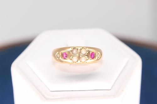 15ct 1845 Ruby & Pearl ring, Size Q, Weighing 4.2g (1 of 5)