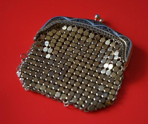 Vintage Miniature Gilt Damascening Metal Purse - Lovely Present (1 of 6)