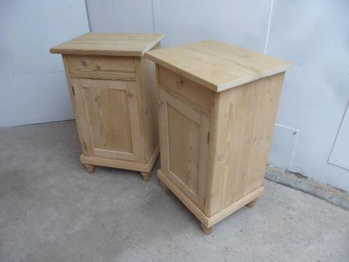 Square Pair of Antique Pine Victorian Bedside Cabinets to wax / paint (1 of 6)