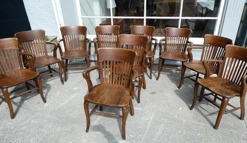 10 1920's Solid Oak Chairs (1 of 7)