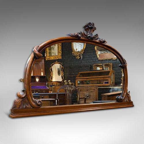 Antique Overmantel Mirror, English, Walnut, Glass, Hall, Victorian, Circa 1860 (1 of 9)