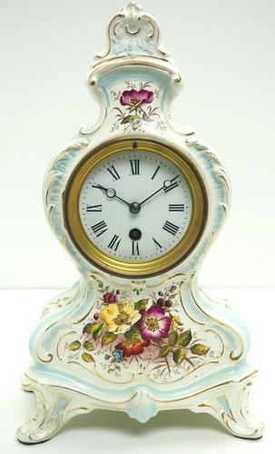 Antique 8 Day Porcelain Mantel Clock Sevres Egg Shell Blue Floral French Mantle Clock (1 of 12)