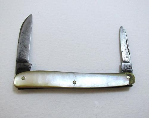 Antique Victorian c.1890 Sheffield Mother of Pearl & Carbon Steel Double-bladed Small Quill Cutter Penknife (1 of 5)