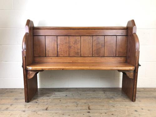 Antique Pitch Pine Chapel Pew with Shaped Sides (1 of 14)