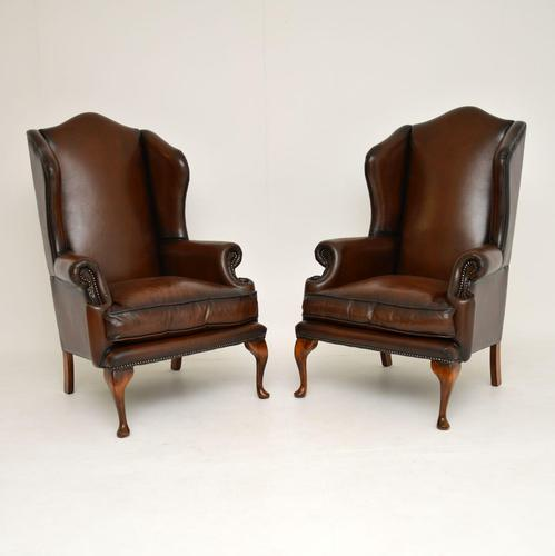 Pair of Antique Georgian Style Leather Wing Back Armchairs (1 of 8)