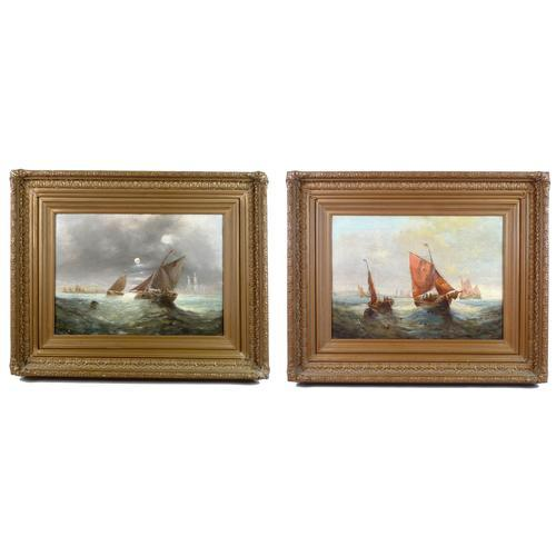 Pair of George H. Knight Oil on Canvas Paintings of Marine Scenes (1 of 9)