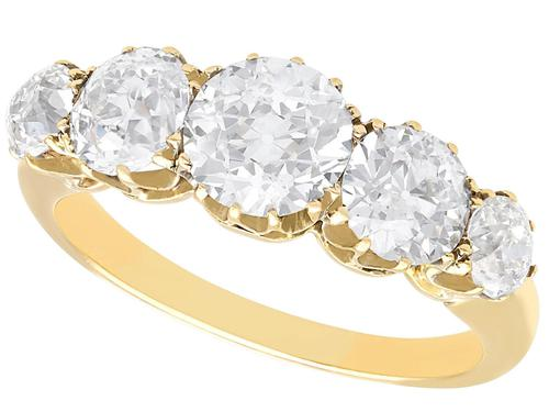 3.29ct Diamond & 18ct Yellow Gold Five Stone Ring c.1925 (1 of 9)